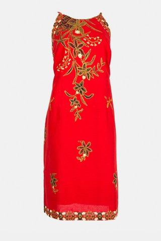 20226 SKU:0097  Dress w/side print Braided    Size : XL