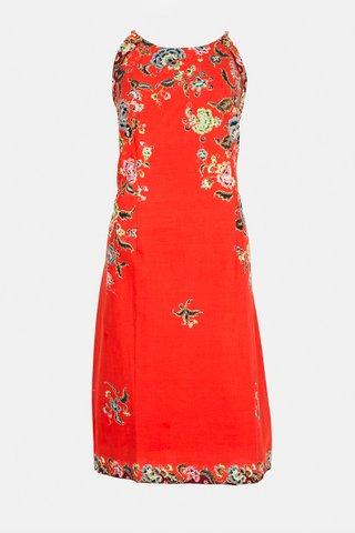 20226 SKU:0100  Dress w/side print Braided     Size : XXL