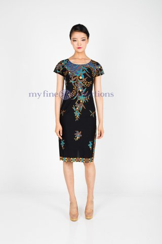 30090  Dress w/boat neckline            Size : S to 3XL
