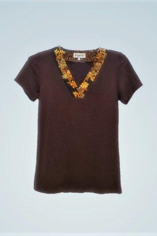 """0064 Blouse, Knit """"V"""" neckline  SKU: K1000004 Size : S"""